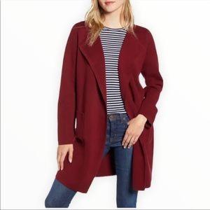 J. Crew Juliette Burgundy Red Collarless Sweater Blazer Jacket L